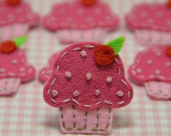 Set of 6pcs handmade felt cupcake--lipstick/baby pink (FT834)