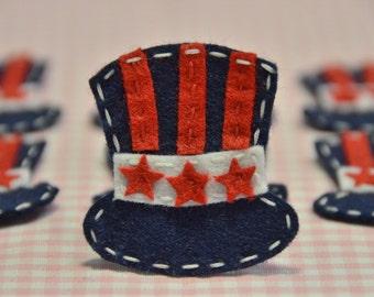 Set of 6pcs handmade felt American Top Hat--navy (FT930)
