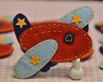 Set of 6pcs handmade felt airplane--devil red (FT352)