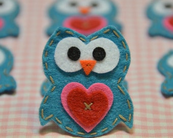 Set of 6pcs handmade felt owl--vivid turquoise (FT922)
