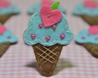 Set of 6pcs handmade felt ice cream--blue (FT921)