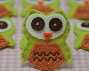 Set of 6pcs handmade felt owl--light green/rust (FT775)