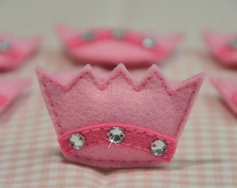 Set of 6pcs handmade puffy felt crown--baby pink (FT619)