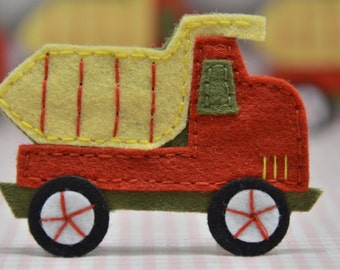 Set of 4pcs handmade felt truck--devil red (FT732)