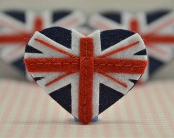 Set of 6pcs handmade felt U.K. heart flag (FT949)