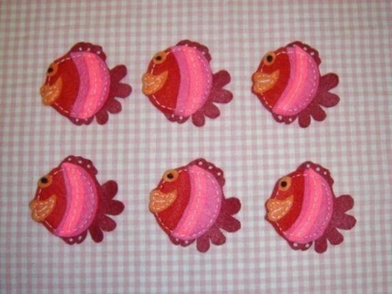 Set of 6pcs handmade felt fish--cranberry (FT344)