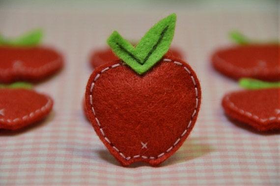 Set of 6pcs felt puffy apple--devil red (FT693)
