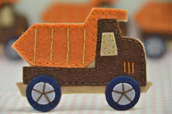 Set of 4pcs handmade felt truck--dark brown (FT732)