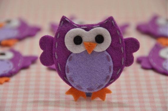 Set of 6pcs handmade felt owl--light plum (FT932)