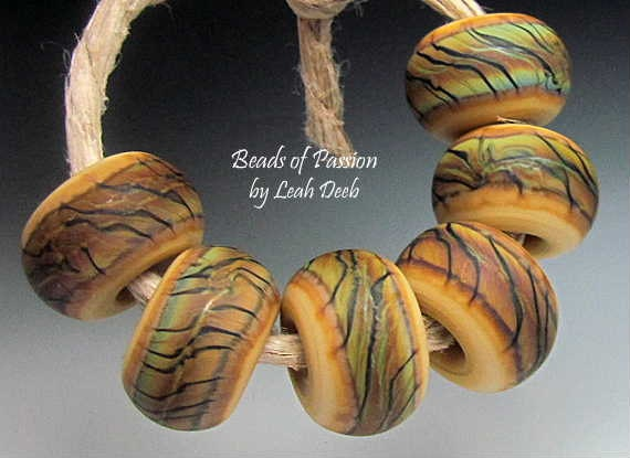 Handmade Glass BHB Beads Lampwork Set - 6 Tiger Print Tie Dyes - Big Holes