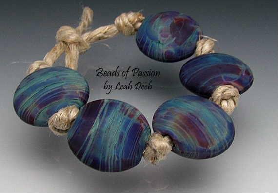 Handmade Glass Artisan Lampwork Bead Set - 5 Rich Tie Dye Lentils