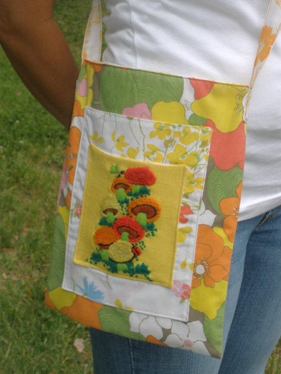 Happy Mushrooms Upcycled Shoulder Bag