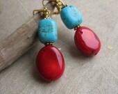 Le temps des cerises (cherry season) earrings - turquoise, branch coral nuggets, pewter