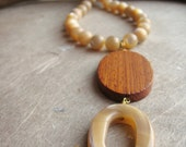 Jour de plage (beach day) necklace - natural mother of pearl, bayong wood, Swarovski crystals