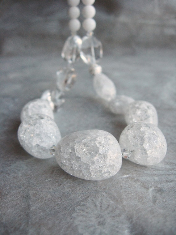 Cristalline necklace - ice flake crystal quartz nuggets, rock crystal faceted  nuggets, white rabbit jade round beads, AB Swarovski crystal, carved silver beads