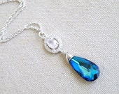 Swarovski Necklace Peacock Blue Teardrop Silver CZ BN18Blue
