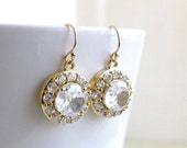Bridal Earrings Cubic Zirconia Gold Filled Dangle CNE2