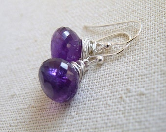 AAA Amethyst Gemstone Sterling Dangle Earrings GE4