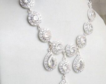 Bridal Necklace White CZ Sterling Silver CNN1