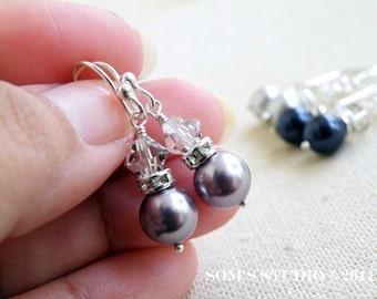 Swarovski Earrings Muave Pearl Sterling Silver BE3