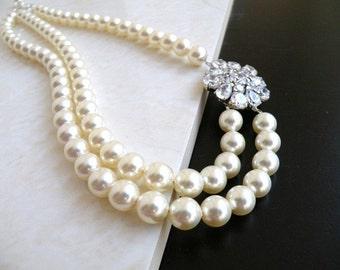 Bridal Necklace Ivory Swarovski Double Strand Silver Brooch BN5