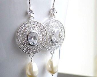 Bridal Earrings Swarovski Ivory Pearl CZ Silver Dangle CNE4