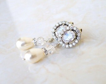 Bridal Earrings CZ Swarovski Ivory Pearl Silver CNE10