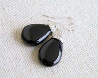 Black Chalcedony Gemstone Sterling Silver Earrings GE7