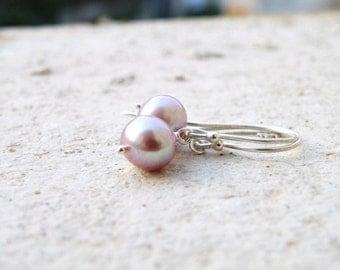Mauve Pearl Sterling Silver Earrings PE7 Wedding Jewelry
