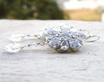 Bridal Earrings Swarovski Crystal CZ Chandelier Earrings BE1