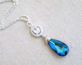 Swarovski Necklace Peacock Blue Teardrop Silver CZ BN18Blue