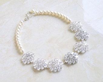 Bridal Necklace Ivory Swarovski Pearl Pear CZ Silver Brooch BN1