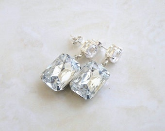White Clear Earrings Foiled Stone Rhinestone Silver Stud BEV7