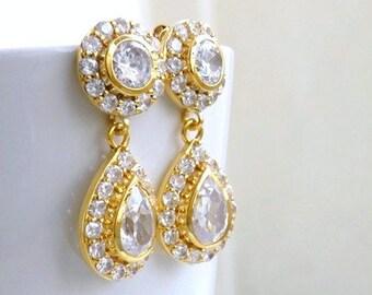 Bridal Earrings Teardrop CZ Gold Stud CNE7G
