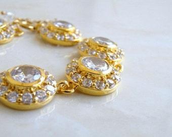 Bridal Bracelet CZ Rhinestone White Gold CNB1G