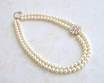 Ivory Swarovski Pearl Gold Asymmetrical cz Brooch Necklace BN2G
