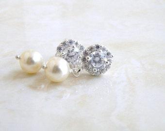Bridal Earrings CZ Swarovski Ivory Pearl Silver Dangle CNE9R