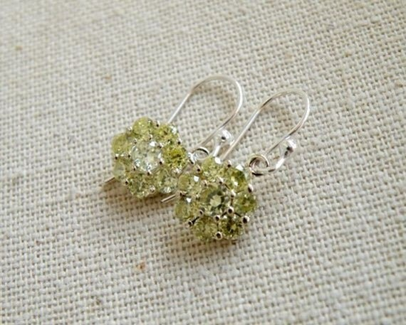 Peridot Green CZ Sterling Silver Dangle Earrings EE2