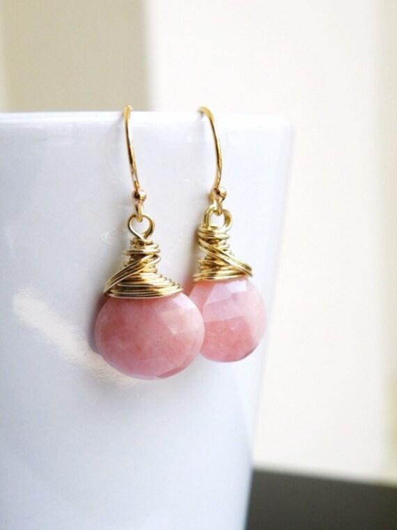 Pink Opal Gold Earrings Faceted AAA Gemstone Heart Briolette Dangle Earrings - GemE9 GoldWedding Jewelry