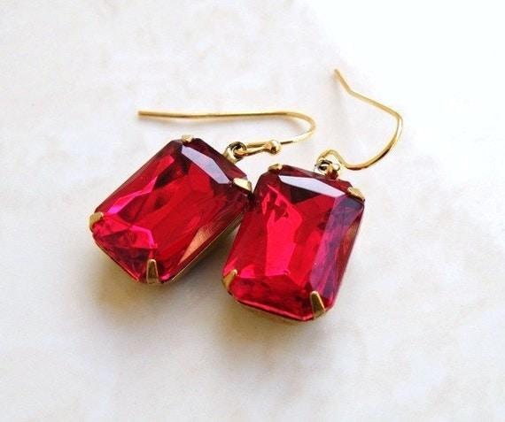 Garnet Earrings Maroon Red Foiled Octagon Stone Rhinestone BEGoldV1
