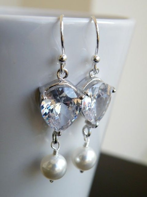 Bridal Cubic Zirconia Pearl Sterling Silver Dangle Earrings BE10