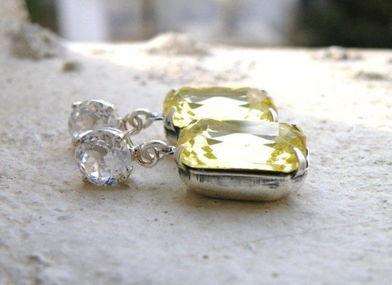 Pastel Yellow Earrings Foiled Octagon Rhinestone Silver Stud BEV1