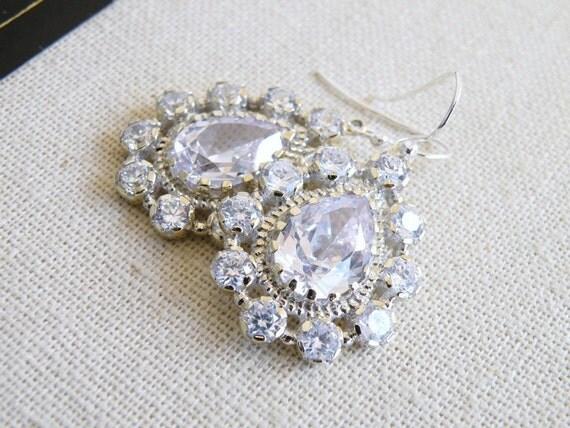 Pear Cubic Zirconia Teardrop Earrings BE6 Wedding Jewelry
