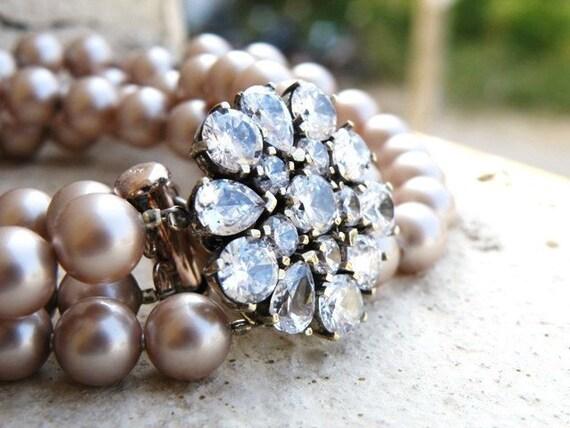 Bridal Necklace Champagne Swarovski Pearl CZ Silver Brooch BN3