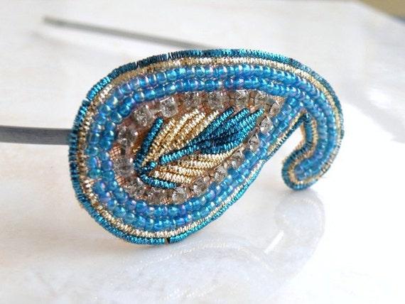 Bridal Headband Wedding Hair Accessory Turquoise Blue Peacock Paisley Gold Embellished Rhinestone Tiara Wedding Jewelry