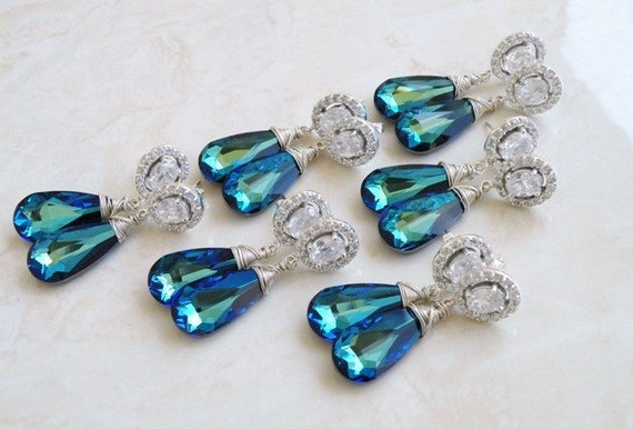 Swarovski Earrings Peacock Blue Teardrop Silver CZ Stud of 3 pairs