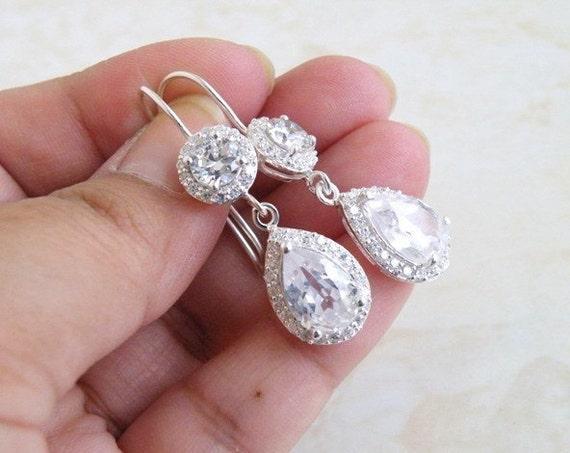Bridal Earrings Pear CZ Teardrop Dangle Hook CNEP1