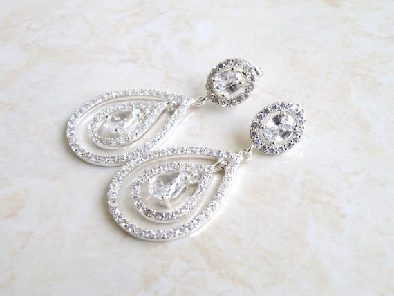 Bridal Earrings Oval Teardrop CZ Silver Chandelier Earrings Studs BE11