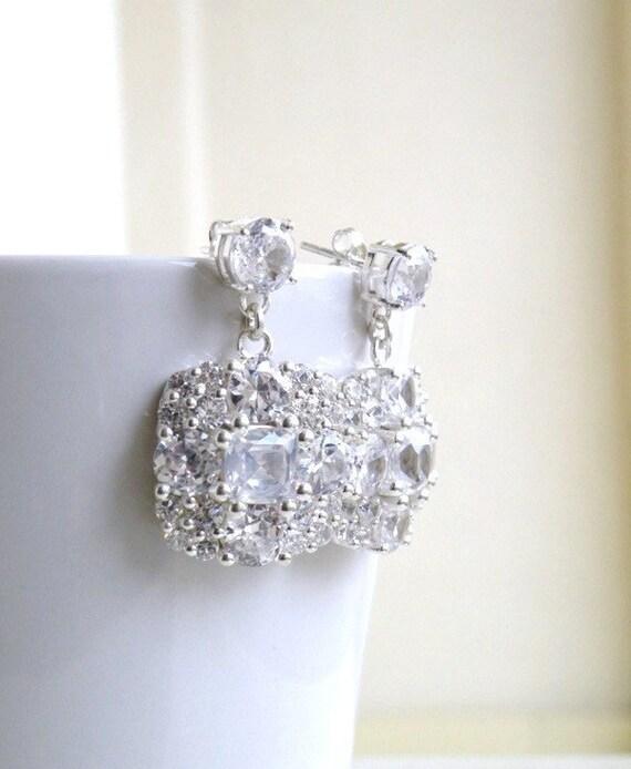 Ivanka Trump Cushion CZ Sterling Silver Stud Earrings IE2