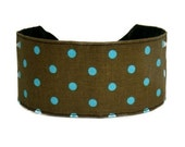 Bargain Headbands, Turquoise Polka Dots Over Chocolate Brown, Perfect Classy Headband